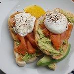 Smoked salmon, avocado and poached egg on sourdough toast