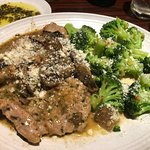 Veal Marsala and broccoli, as served - 3 cutlets, Romano cheese spooned on by waitstaff