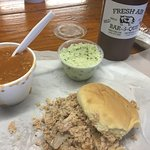 The complete meal with awesome BBQ Sauce