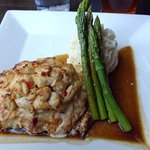 Chicken Chesapeake with asparagas and mashed potatoes.
