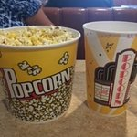 The two popcorns buckets upon entry.