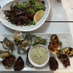 Mixed oysters and Octopus entree