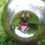 The exhibits are extremely varied. This was a large polished stainless steel sphere with reflect