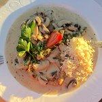 Schnitzel mit Reis und Champignons