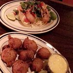 Starters - fish tacos and cod fish fritters