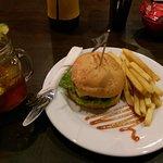 Chicken burger with lemon iced tea