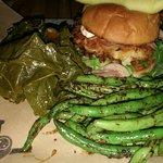 Blackened green beans, collard greens and catfish sandwich!