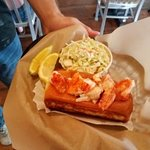Lobster roll, and coleslaw