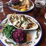 "foreground plate has the ""rabbit stew"" hasenpfeffer."