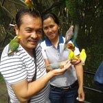 Enjoying the friendly birds at the Bird Feeding Dome.