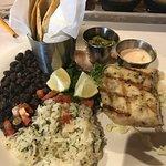 Grilled Mahi Mahi Tacos, yummy beans and rice, fresh tortillas