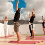 One of our group yoga sessions with our amazing instructor Sandra