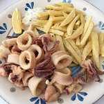 squid and fried potatoes
