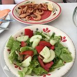 grilled prawns and salad