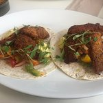 Fish Tacos £7.50. Usually presented on a wooden board but were busy and ran out.