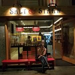 Enjoying a cone outside Salt and Straw on Larchmont, late in the evening