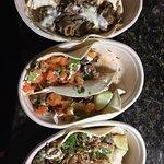Prime Rib Cheesesteak, Jerk Chicken, & Asian Pulled Pork Tacos