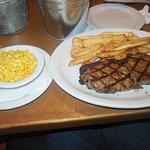 Sirloin Steak, fries and corn