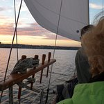 Heading back, a beautiful sunset over Thunder Bay.