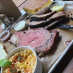 Point brisket, prime rib, corn, cornbread.