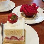 Strawberry cake and rose cake.