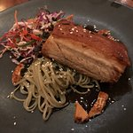 Crispy pork belly with soda noodles - cooked to perfection!