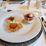 Mousse from buffalo mozzarella, tomato jelly & crispy shrimps