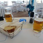 Having lunch at the beach bar