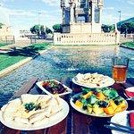 Mezze plates, homemade jasmine ice-tea + the view