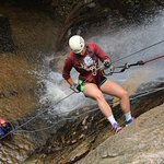 Repelling down a waterfall