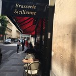 Outside tables of the Brasserie Sicilienne, Paris