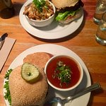 Pink Bicycle Burgers with delicious side soup and poutine