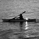 Canoe at night at Hudson river