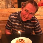 Too full for dessert but we can't have a birthday without a candle!!