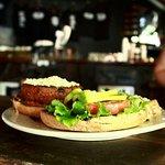 Black bean veggie burger helping kick off a Meatless Monday