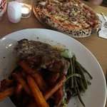 Great steak and pizza.
