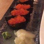 Tobiko (flying fish) and Ikura (salmon) eggs - sushi.