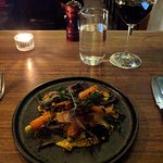 Heirloom carrots, spiced chickpea