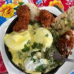 Artichoke Cream Eggs Benedict with Deep-fried Oysters