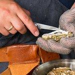 Verse oesters worden geopend