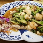 Ladna rice noodles with mixed seafood