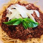 Homemade pasta bolognese