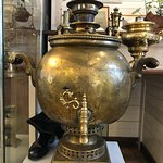Interior view and a samovar from the museum upstairs.