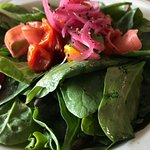 Garden salad- mixed greens, cherry tomatoes, basil vinaigrette