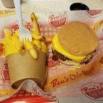 Chili burger and cheese fries