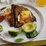 Salmon Royale - smoked salmon, avocado, poached eggs and rye toast