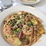 Shrimp and andoullie pasta