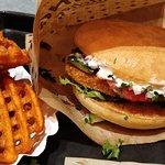 Vienna burger and Sweet criss cross fries
