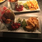 Fresh monk fish scampi ,minted peas & chunky chips