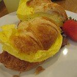 Breakfast sandwich minus cheese.
